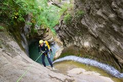 Canyoning in Spain Royalty Free Stock Photography
