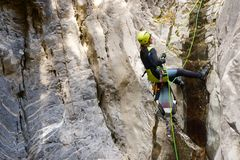 Canyoning in Spain. Canyoning in Lapazosa Canyon, Bujaruelo Valley, Pyrenees, Huesca Province, Aragon, Spain Stock Photo