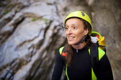 Canyoning in Spain. Canyoning in Lapazosa Canyon, Bujaruelo Valley, Pyrenees, Huesca Province, Aragon, Spain Royalty Free Stock Photography