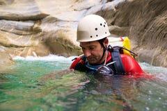 Canyoning in Spanien Lizenzfreies Stockfoto
