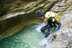 Canyoning in Spanje Stock Afbeelding