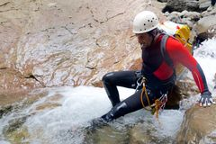 Canyoning in Spanje Royalty-vrije Stock Foto