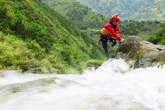 Canyoning Trip Chamana Waterfall Ecuador Stock Photography
