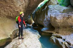 Canyoning w Hiszpania obrazy royalty free
