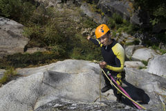 Canyoning watch the water Royalty Free Stock Photo