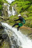 Canyoning Waterfall Descent Stock Photography