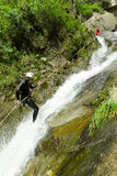 Canyoning Waterfall Descent Stock Image