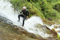 Canyoning Waterfall Descent Royalty Free Stock Photo