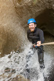 Canyoning in waterfall Stock Photography