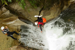 Canyoning Waterfall Stunt Stock Photography