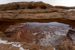 Canyonlands Arch Window View. A pulled in landscape photo of the diversity in Canyonlands National Park Utah. An arch provides a window of opportunity Royalty Free Stock Photo