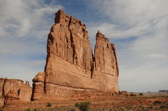 Canyonlands monolith. Giant desert sandstone formation takes majestic shape stock photo