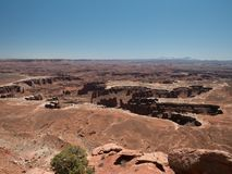 Amazing vistas and scenary from the grand view point in the Canyonlands National Park. Canyonlands National Park, USA - APRIL 15, 2019: View of amazing vistas stock images