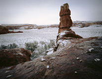 Canyonlands Nationalpark-Schneesturm, Utah Stockfotos