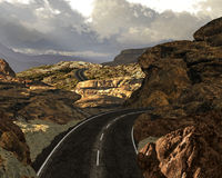Canyonlands Road Trip. A highway scene in a rocky area in the Canyonlands of Utah stock illustration