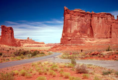 CANYONLANDS, UTAH. Road  between red rock formation of Canyonlands in Utah Royalty Free Stock Photography
