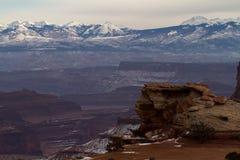 Canyonlandsvooruitzicht en Sneeuwbergen Royalty-vrije Stock Afbeeldingen
