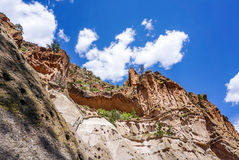 The Canyons at the Bandelier National Monument Park in Los Alamos,  New Mexico. A skyline view of the canyons and the Alcove House at the Bandelier National Stock Photography