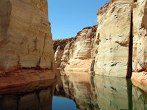 Canyons in Lake Powell of Lake Powell. Image shows one of many water filled canyons in Lake Powell. Lake Powell is a reservoir on the Colorado River, straddling Royalty Free Stock Photography
