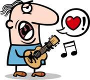 Canzone di amore di canto dell'uomo per il giorno di biglietti di S. Valentino Fotografie Stock Libere da Diritti