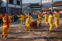 Canzone folk dell'eredità culturale di Hubei Badong e ballo non materiali, combinazione noiosa del ` del YE Yeer del ` Fotografia Stock Libera da Diritti