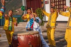 Canzone folk dell'eredità culturale di Hubei Badong e ballo non materiali, combinazione noiosa del ` del YE Yeer del ` Fotografie Stock