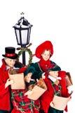 Canzoni di Natale di canto della famiglia della bambola immagini stock libere da diritti
