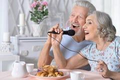 Canzoni senior di canto del marito e della moglie delle coppie immagine stock libera da diritti