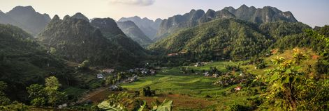 Panoramic view on a beautiful village in the mountains around cao bang, cao bang province, North Vietnam. Cao Bang is a mountainous province in northeast Vietnam stock photography