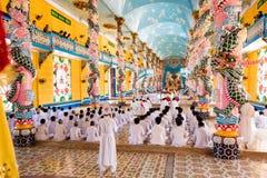 Cao Dai ceremonia w Tay Ninh, Wietnam obrazy stock