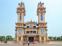 Cao Dai Temple of Tay Ninh. TAY NINH, VIETNAM - MARCH 8, 2013 : Cao Dai Temple of Tay Ninh, Caodai is a Vietnamese religion mixing different religions from Royalty Free Stock Image