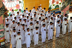 Cao Dai Worshippers Stock Photo
