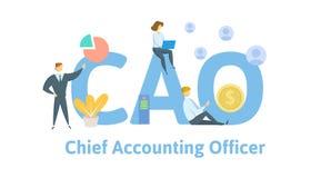 CAO, principal contable Concepto con palabras claves, letras, e iconos Ejemplo plano del vector Aislado en blanco stock de ilustración