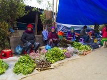 Cao Son - Vietnam,  People selling in the marke Royalty Free Stock Photo