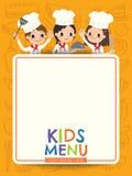 Caçoa crianças novas do cozinheiro chefe do menu com desenhos animados vazios da placa do menu Fotografia de Stock Royalty Free
