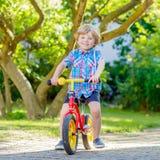 Caçoe o menino que conduz o triciclo ou a bicicleta no jardim Imagens de Stock