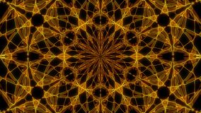 Caos cósmico abstracto que coloca el fondo animado Contexto simétrico inconsútil del caleidoscopio de rayos hipnóticos de oro líq libre illustration