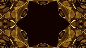 Caos cósmico abstrato que dá laços no fundo animado Contexto simétrico sem emenda do caleidoscópio dos raios hipnóticos dourados  ilustração stock