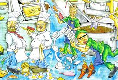 Caos de la cocina Imagenes de archivo