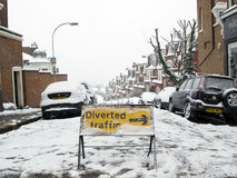 Caos di traffico della neve pesante Fotografia Stock
