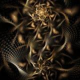 Caos do metal Fractal abstrato no fundo preto Imagens de Stock Royalty Free