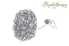 Caos e disordine, complicazione, problema, situazione difficile che risolve, metafora di psicoterapia illustrazione vettoriale