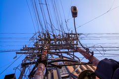 Caos eléctrico de los alambres Imagen de archivo