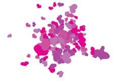 Caos enrrollado del confeti de los corazones ilustración del vector
