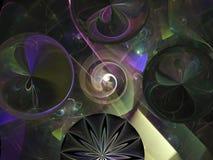 Caos hermoso del fractal del diseño de la tecnología de diseño del caos del elemento de la partícula de las flores del mosaico de Fotos de archivo libres de regalías