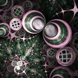 Caos rosa e verde di frattale illustrazione vettoriale