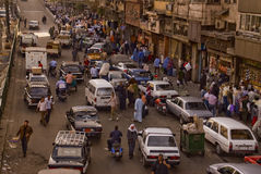 Caotic traffic jam in a market in cairo Stock Photo