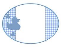 Capítulo azul y blanco del bebé para su mensaje o invitación Imágenes de archivo libres de regalías