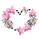 Capítulo bajo la forma de corazón de orquídeas y de mariposas rosadas Aislado en el fondo blanco Imagen del vector ilustración del vector