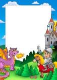 Capítulo con el caballero y el dragón stock de ilustración